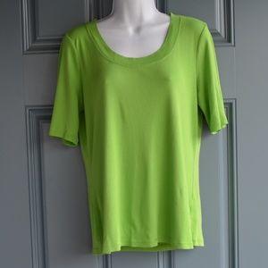 Green Pima Cotton Short Sleeve Tee by Talbots Sz L